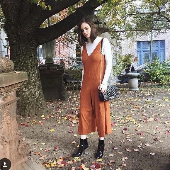 5f23e6b17a6 Zara Burnt Orange Ribbed Jumpsuit. M 5af74f453a112e044666116c